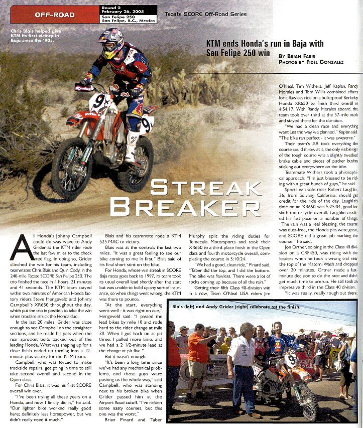 2005 San Felipe 250 Cycle News Article Page 1