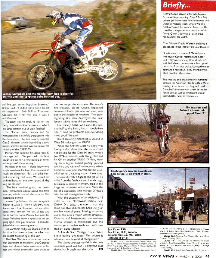 2005 San Felipe 250 Cycle News Article Page 2