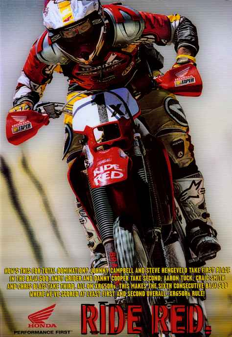 Chris Blais listed on bottom of Johnny Campbell poster in Cycle News