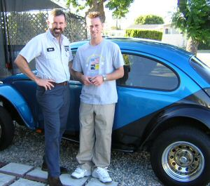 Dad and Nick by our 69 Baja bug