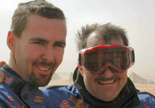 Chris and Scott in Africa, after Stage 6  SMARA - ZOUERAT in the Sand Dunes