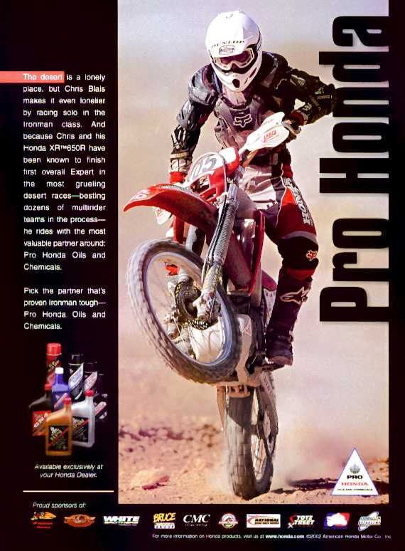 Christopher Blais Racing with Pro Honda Oils and Chemicals.